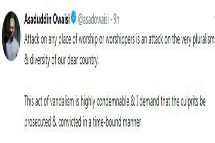 Asaduddin Owaisi condemns attack on temple in Delhi