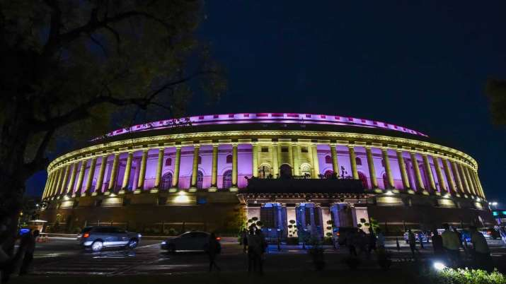 A view of illuminated Parliament