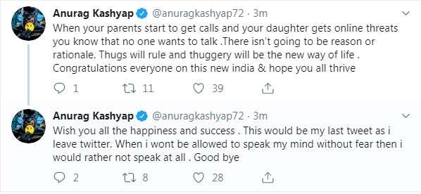 Anurag kashyap last tweet