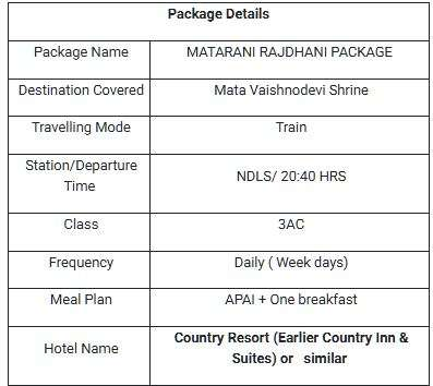 Matarani Rajdhani package