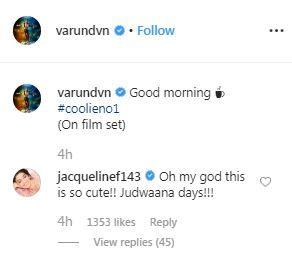 Screenshot of varun dhawan post
