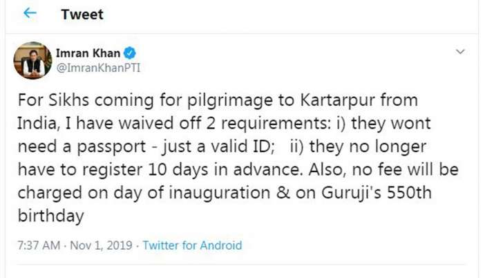 Imran Khan Tweet on Kartarpur