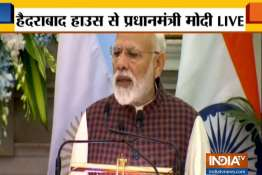 PM Modi lashes out at Pakistan in Hyderabad House- India TV