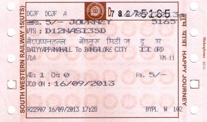 travelling by a train without ticket One of the passenger booked on an e-ticket in a pnr is required to present any of the ten identity cards noted below in original during the train journey and same will be accepted as a proof of identity failing which the passenger will be treated as travelling without ticket and shall be dealt as per extant railway rules.