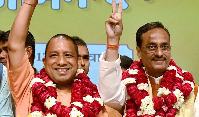 Yogi Adityanath and Dinesh Sharma | PTI Photo- Khabar IndiaTV