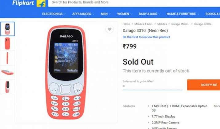 फ्लिपकार्ट पर लिस्ट हुआ नोकिया 3310 जैसा दिखने वाला 'डारगो 3310', कीमत 799 रुपए- IndiaTV Paisa