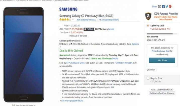 Samsung Galaxy C7 Pro पर मिल रही है 2,000 रुपए की छूट, जानिए आपको यह स्पेशल डिस्काउंट मिलेगा या नहीं- IndiaTV Paisa