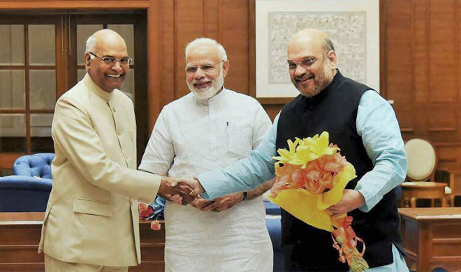 Ram Nath Kovind, Narendra Modi and Amit Shah | PTI Photo- Khabar IndiaTV