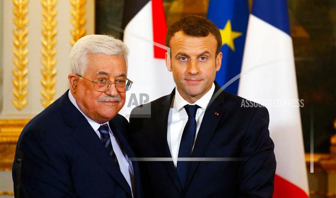 Mahmoud Abbas and Emmanuel Macron | AP Photo- India TV