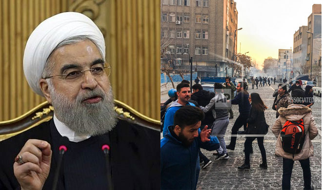 Hassan Rouhani and Protestors | AP Photo- India TV