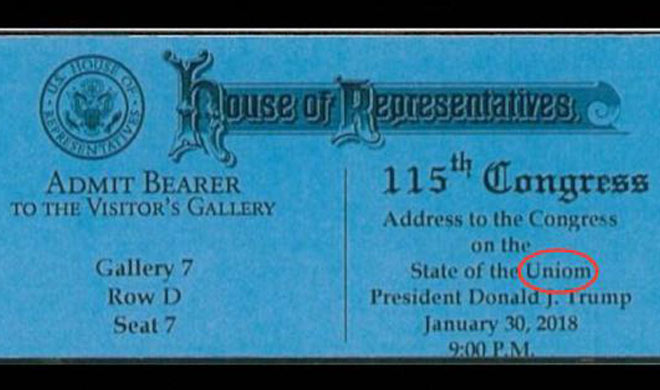 Ticket typo invites guests to Trump State of the Uniom - India TV
