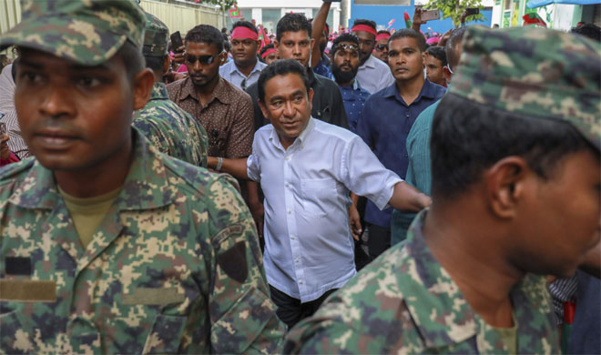 Maldivian president Yameen Abdul Gayoom, center, surrounded by his body guards | AP Photo- India TV