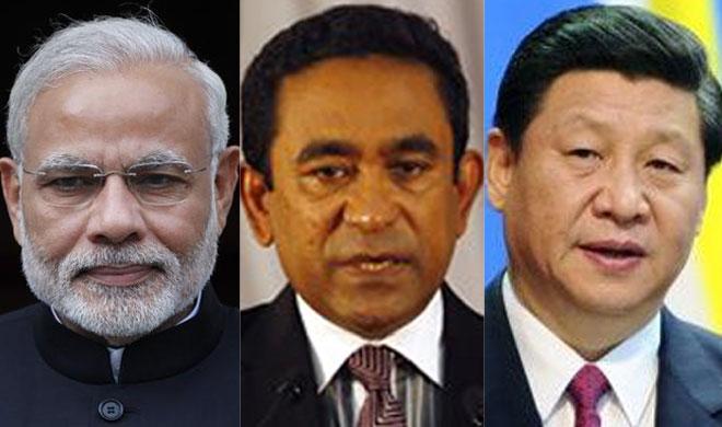 Narendra Modi, Abdulla Yameen and Xi Jinping | AP Photo- Khabar IndiaTV