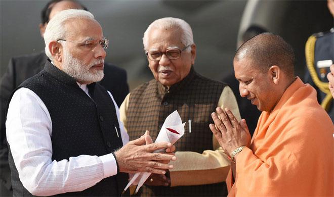Narendra Modi, Ram Naik and Yogi Adityanath | PTI Photo- Khabar IndiaTV