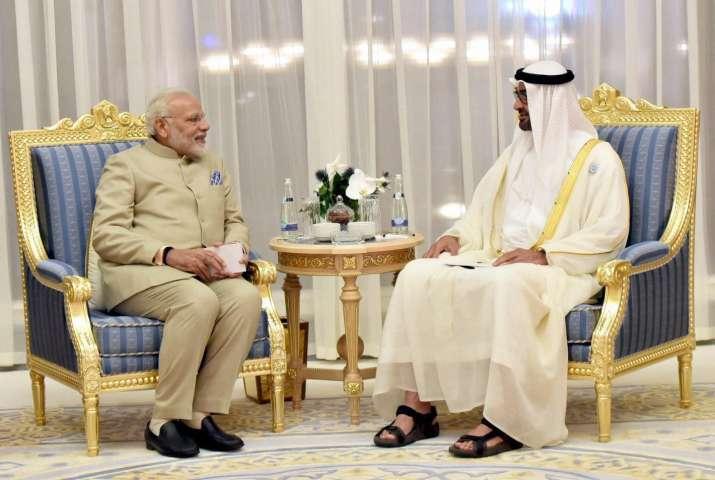 PM Modi in Abu Dhabi with crown prince Mohamed bin Zayed Al Nahyan- IndiaTV Paisa