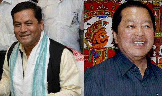 Chief Ministers of Assam and Mizoram and Sarbananda Sonowal and Lal Thanhawla | PTI Photo- India TV