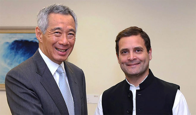 Congress President Rahul Gandhi meets Singapore's Prime Minister Lee Hsien Loong | AP Photo- India TV