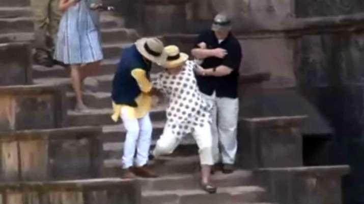 Madhya-Pradesh-Hillary-Clinton-slips-twice-on-stairs-during-Mandu-visit- India TV
