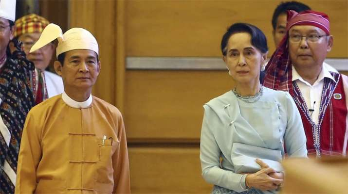 Myanmar's new President Win Myint with leader Aung San Suu Kyi | AP Photo- India TV