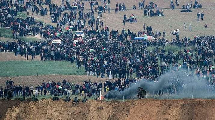 7 Palestinians said killed, 500 hurt in clashes at border   AP Photo- India TV