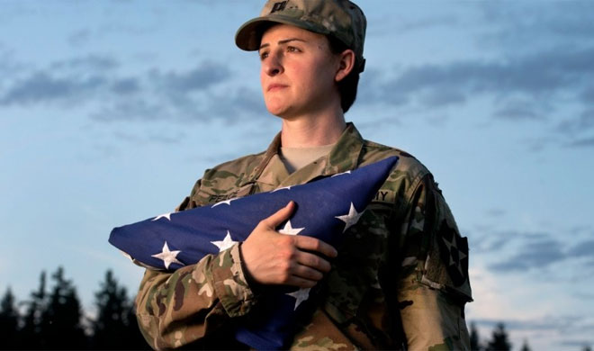 U.S. Army Capt. Jennifer Peace poses near her home in Spanaway | AP Photo- India TV