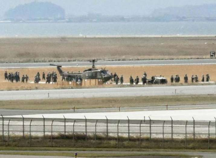 Military helicopter emergency landing in Japan runway...- India TV