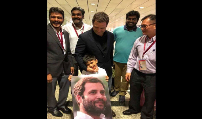 Young boy greeted Rahul Gandhi at Singapore Airport- India TV