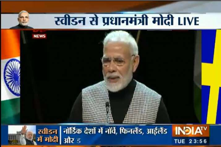 PM modi live Speech Sweden- India TV