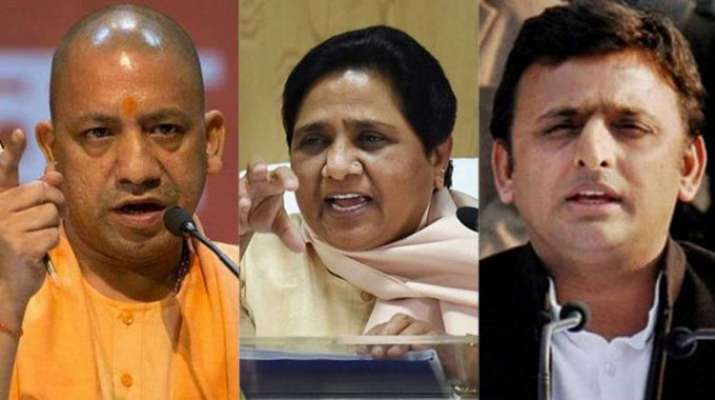 Yogi Adityanath, Mayawati and Akhilesh Yadav | PTI Photo- Khabar IndiaTV