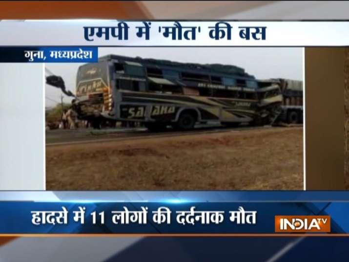 Madhya Pradesh: Bus-truck collision kills 11, injures more than 20 in Guna- India TV