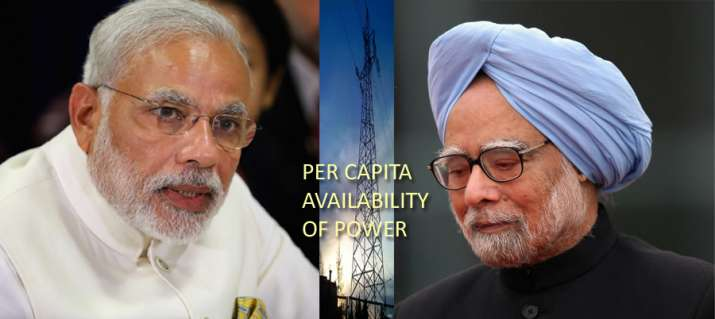 PM Modi's 3 years regime is better over 5 years of Manmohan Singh in per capita power availability- India TV Paisa