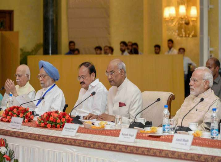 President Ram Nath Kovind speaks as he chairs the first...- India TV