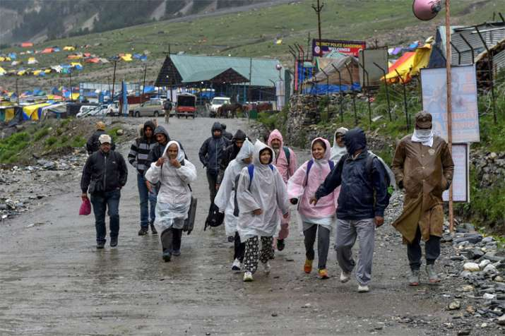 Jammu and Kashmir: Amarnath Yatra resumes after weather improves | PTI- India TV