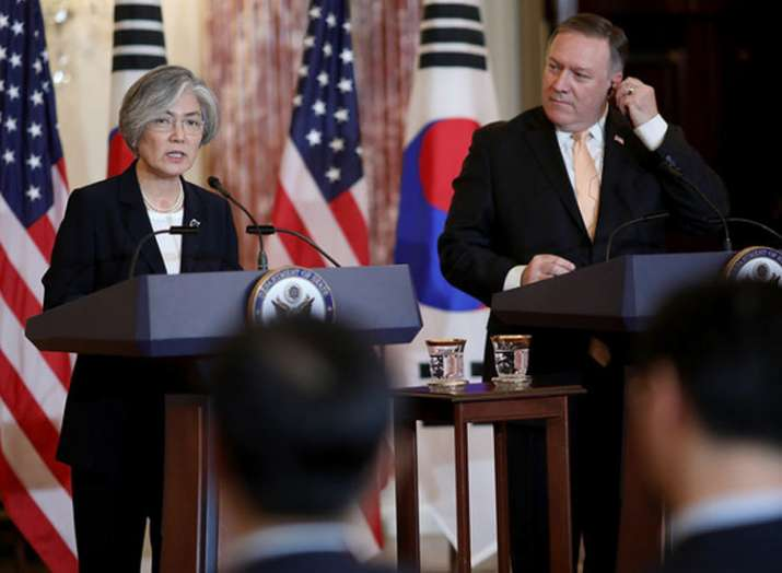 Mike Pompeo with Korean foreign minister Kang Kyung-wha...- India TV