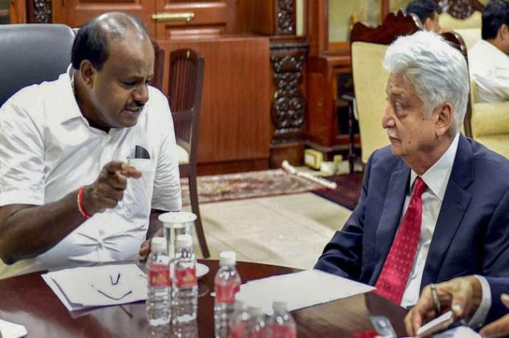 Karnataka cm H D Kumaraswamy and Azim Premji - India TV