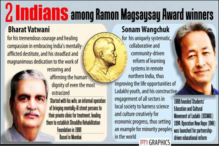 Indians Bharat Vatwani and Sonam Wangchuk are among the winners of this year's Ramon Magsaysay Award- India TV