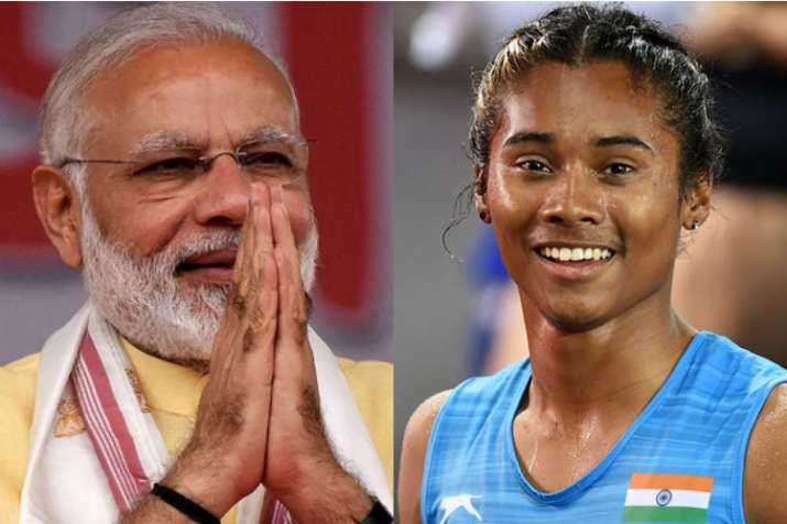 PM Narendra Modi is 'extremely moved' with this gesture of Hima Das | PTI- Khabar IndiaTV