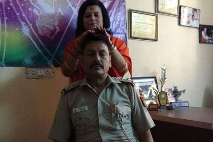 SHO attached to line over getting heal by a sadhvi- India TV