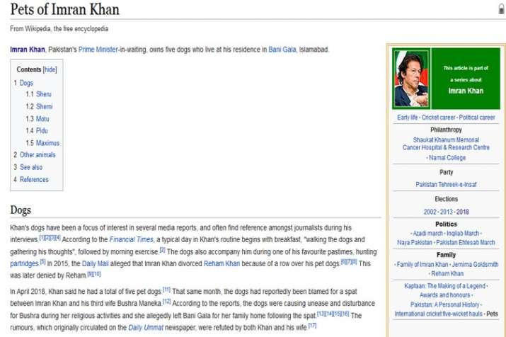 Pakistan: Imran Khan's pet dogs get Wikipedia page, confirms online encyclopedia- India TV