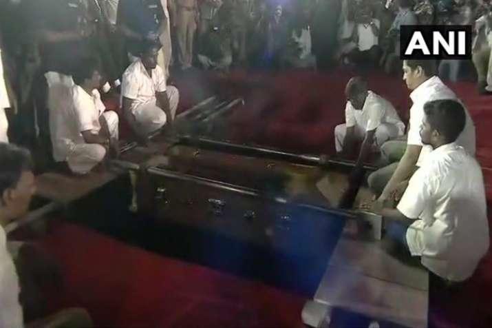 Chennai: M Karunanidhi being laid to rest at Marina...- India TV