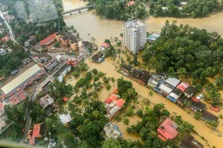 Flood affected areas of Chengannur seen from a Indian...- India TV