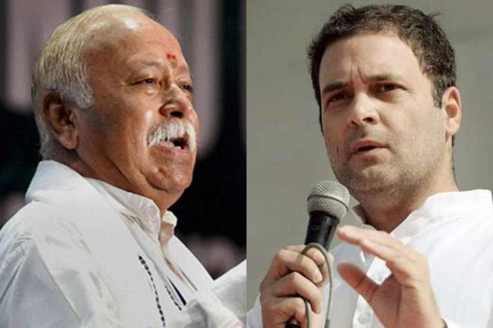 Mohan Bhagwat and Rahul Gandhi | PTI Photo- India TV