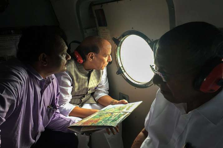 Union Home Minister Rajnath Singh conducts an aerial...- India TV