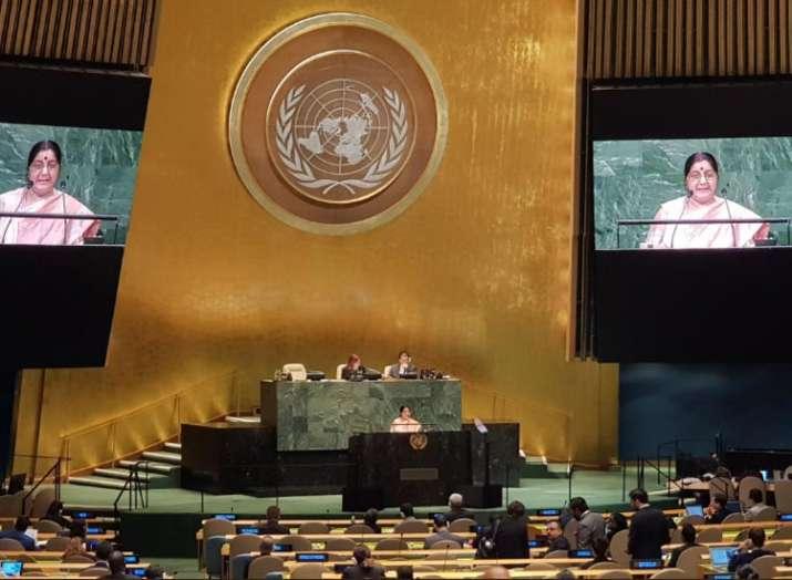 भारत, संयुक्त राष्ट्र, विदेश मंत्री सुषमा स्वराज- India TV