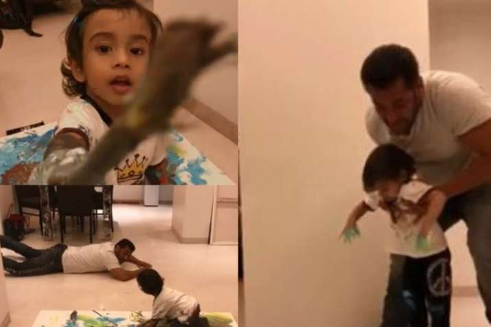 Salman Khan enjoys painting time with nephew Ahil.- India TV
