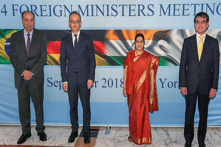Aloysio Nunes Ferreira, Heiko Maas, Sushma Swaraj and Taro Kono during the G4 Foreign Ministers Meet- India TV
