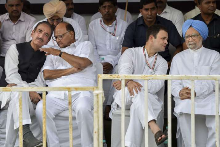 Congress leaders during 'Bharat Bandh' protest...- India TV