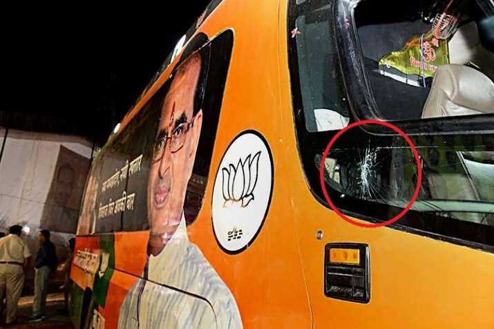 A view of the damaged bus of Madhya Pradesh Chief...- India TV