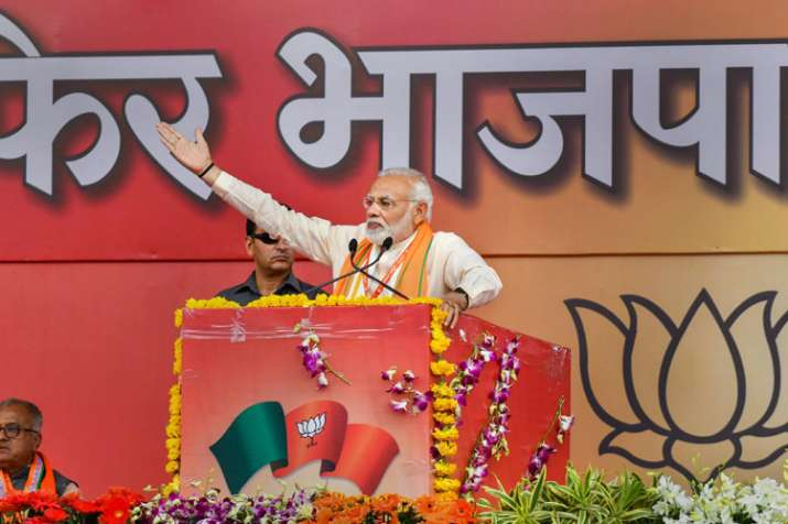 Prime Minister Narendra Modi addresses during BJP...- India TV