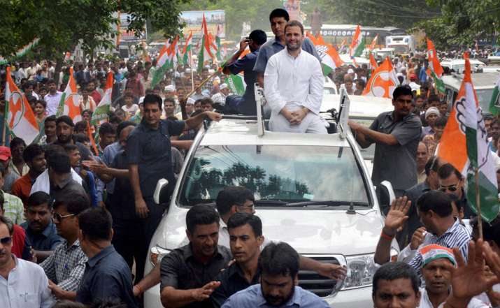 Image result for rahul gandhi during road show